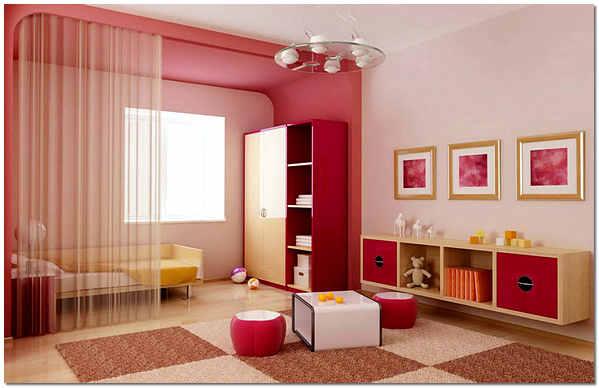 Покраска стен в детской в розовый и ярко-розовый цвет