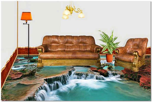 Наливные 3d полы в интерьере гостиной