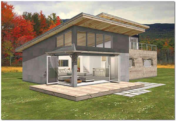 Фото загородного дома с односкатной крышей