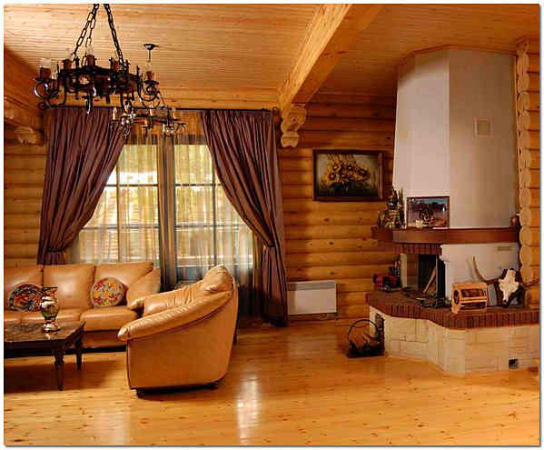 Шпунтованная доска в деревянном загородном доме фото